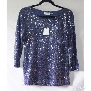 Calvin Klein Purple Sequin Blouse